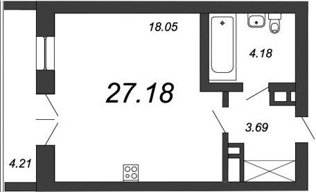 Студия, 27.18 м², 16 этаж – Планировка