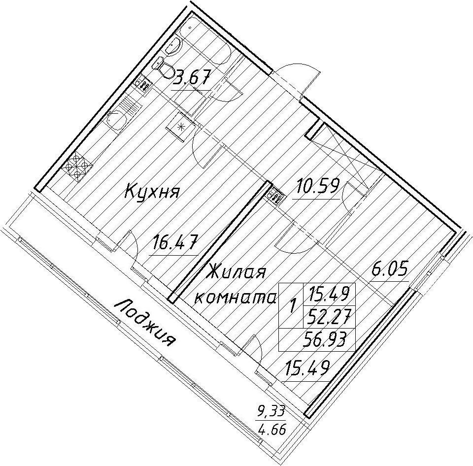 2-к.кв (евро), 61.59 м²
