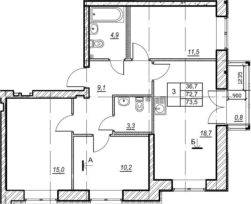3-к.кв, 73.6 м², 2 этаж
