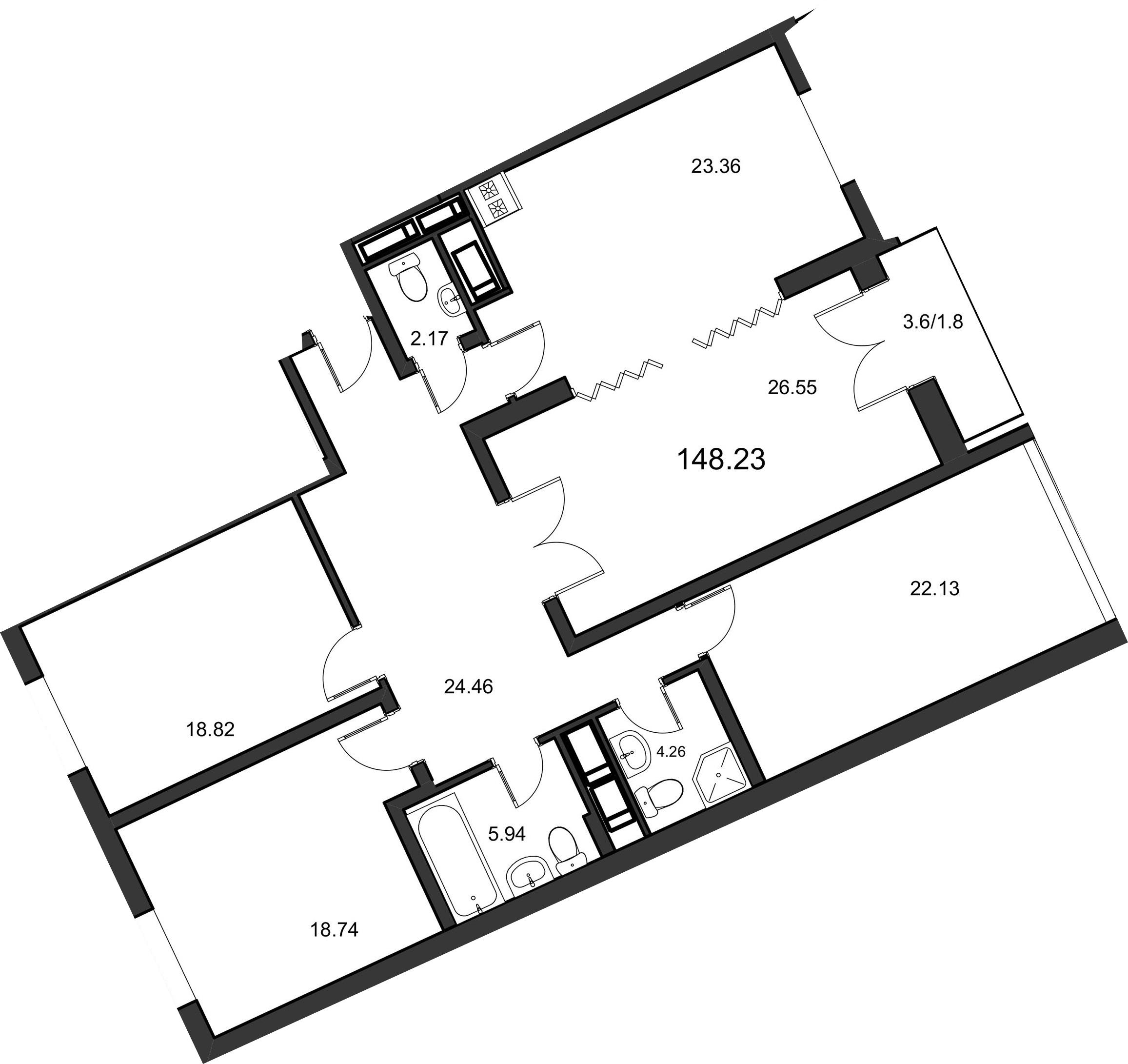 4-комнатная, 148.4 м²– 2