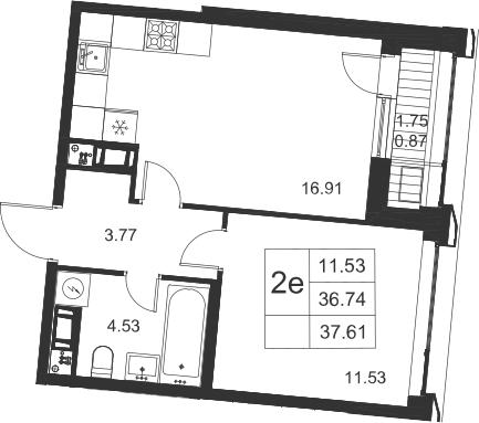 2Е-к.кв, 37.61 м²