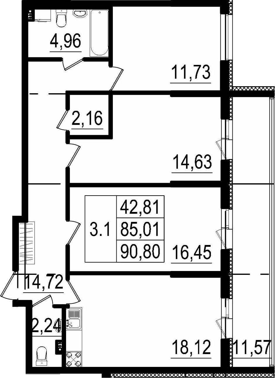 4Е-к.кв, 85.01 м²