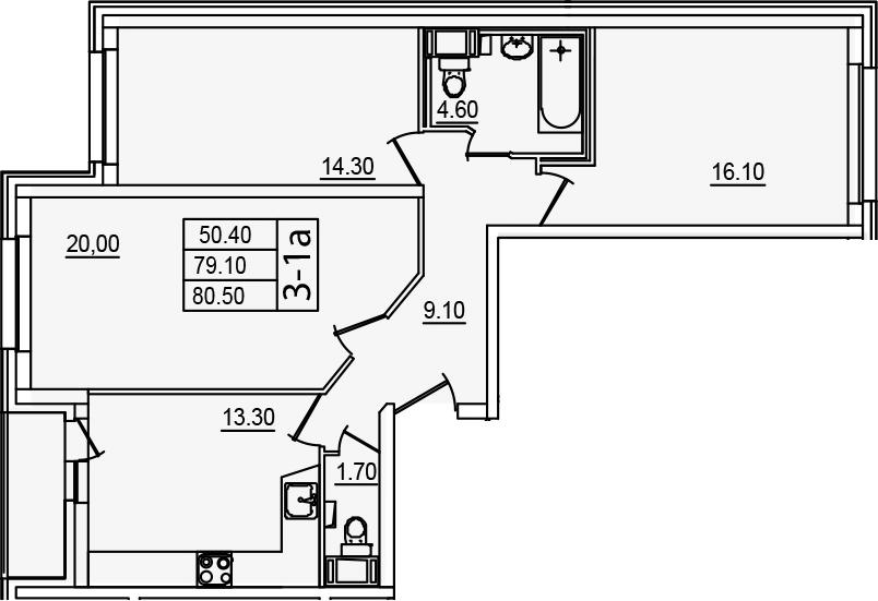 3-комнатная квартира, 80.5 м², 4 этаж – Планировка