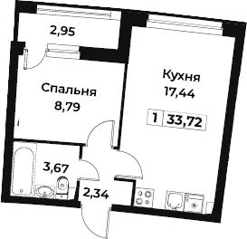 2Е-к.кв, 33.72 м², 2 этаж