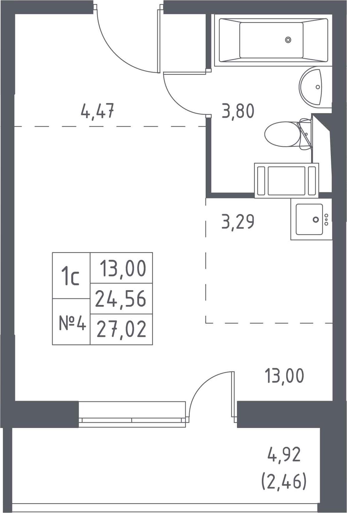 Студия, 27.02 м²– 2