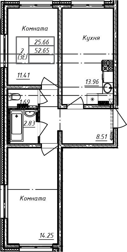 3Е-к.кв, 52.65 м², 1 этаж