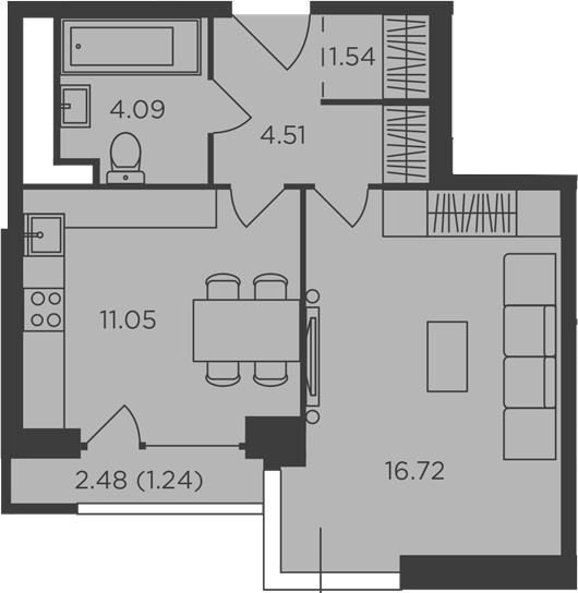 1-к.кв, 39.15 м², 24 этаж