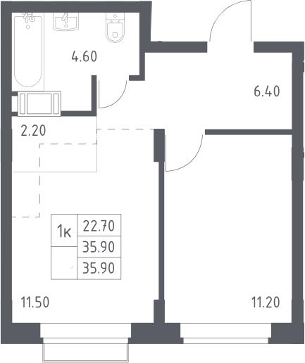 2Е-к.кв, 35.9 м², 8 этаж