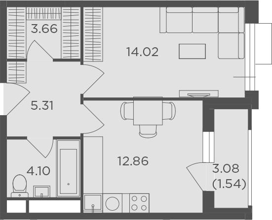 1-комнатная, 41.49 м²– 2