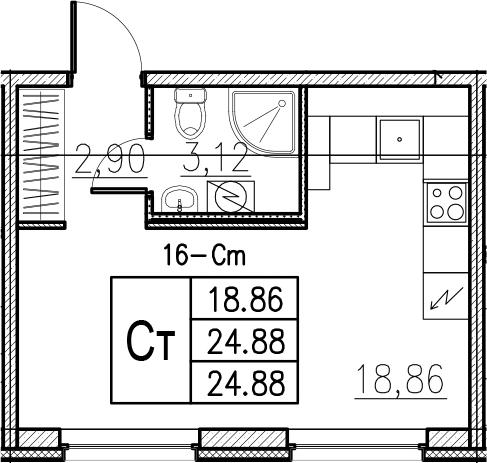 Студия, 24.88 м²– 2