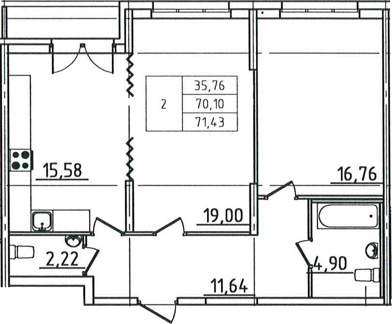 2-к.кв, 72.76 м²