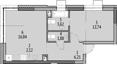 2Е-к.кв, 43.41 м²