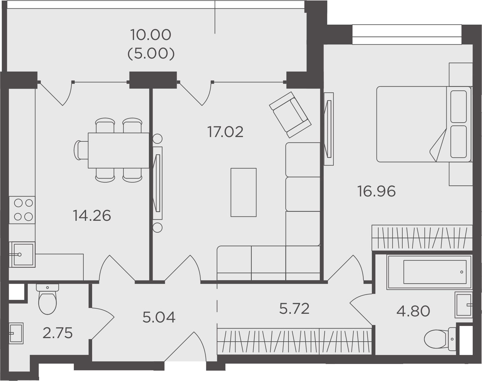 2-комнатная, 71.55 м²– 2