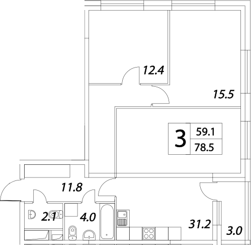 3Е-к.кв, 81.9 м², от 20 этажа