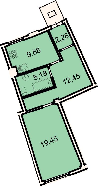 1-к.кв, 49.24 м²