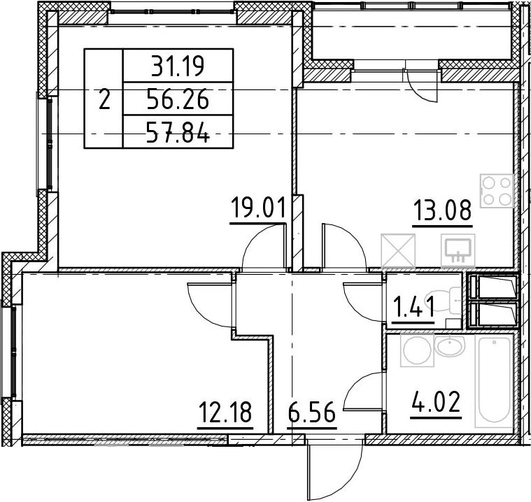 2-к.кв, 59.41 м²