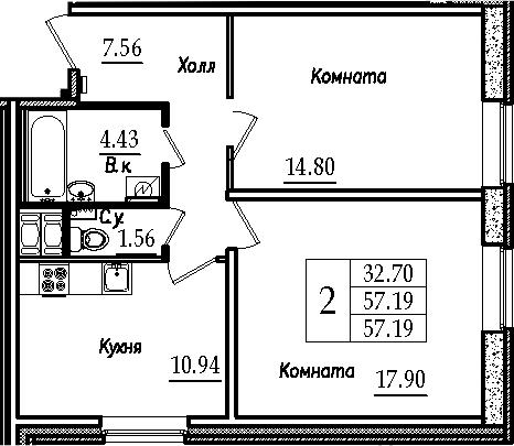 2-к.кв, 57.19 м²