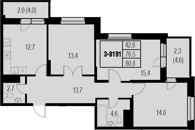 3-к.кв, 85.1 м²