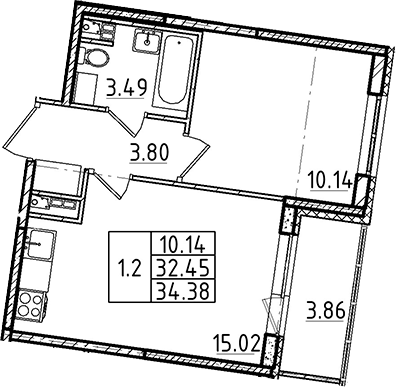 2Е-к.кв, 34.38 м²