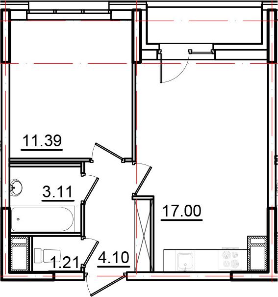 2Е-к.кв, 38.31 м², 10 этаж