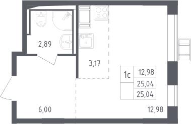 Студия, 25.04 м²– 2