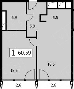 2Е-комнатная, 57.2 м²– 2