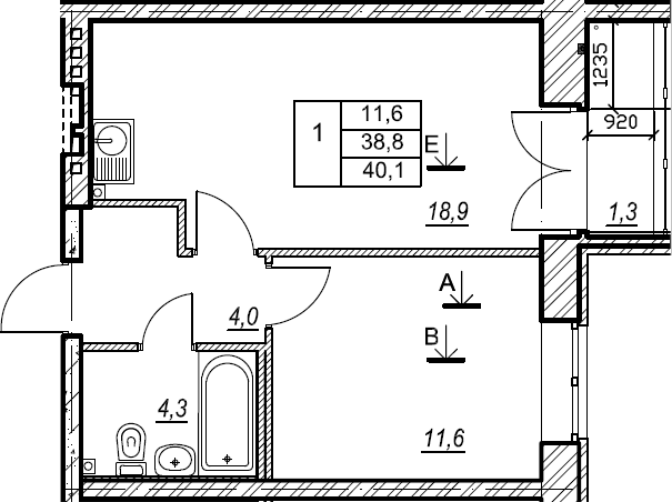 1-к.кв, 40.1 м², 2 этаж
