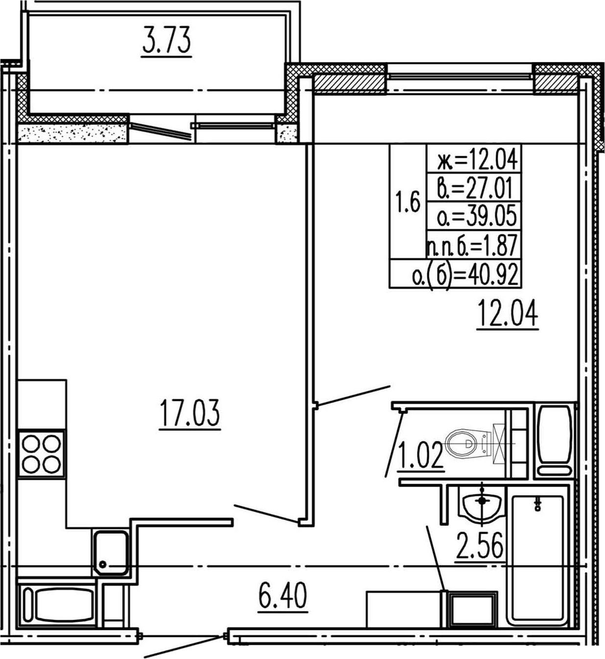 2Е-к.кв, 39.05 м², 4 этаж