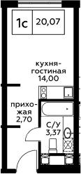 Студия, 20.07 м², 21 этаж