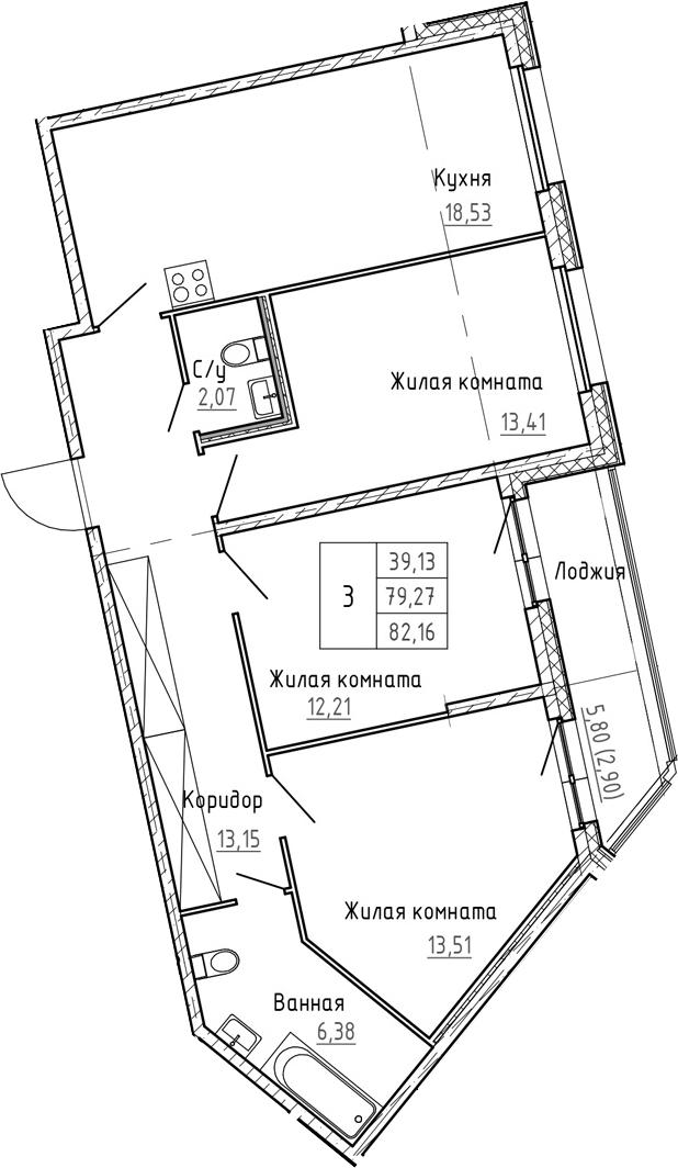 4Е-к.кв, 82.16 м²