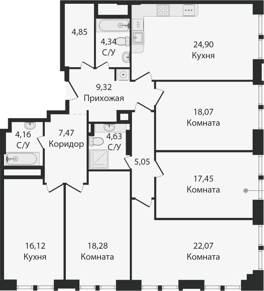 5-комнатная, 156.71 м²– 2