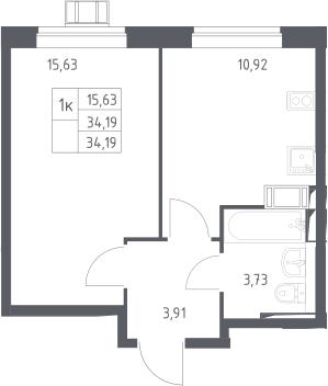 1-к.кв, 34.19 м²