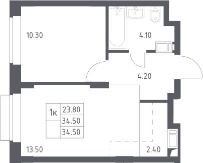 2Е-к.кв, 34.5 м², 14 этаж
