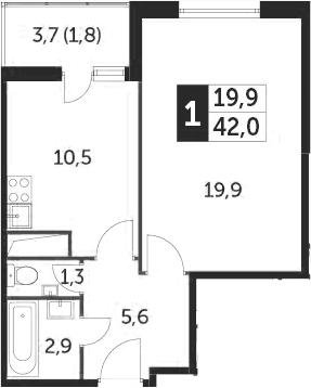 1-к.кв, 41.9 м², от 11 этажа