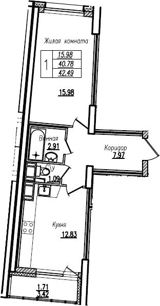 1-комнатная, 42.49 м²– 2