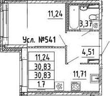 1-к.кв, 30.83 м²