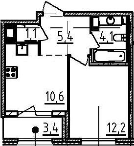 1-к.кв, 35.1 м², 7 этаж