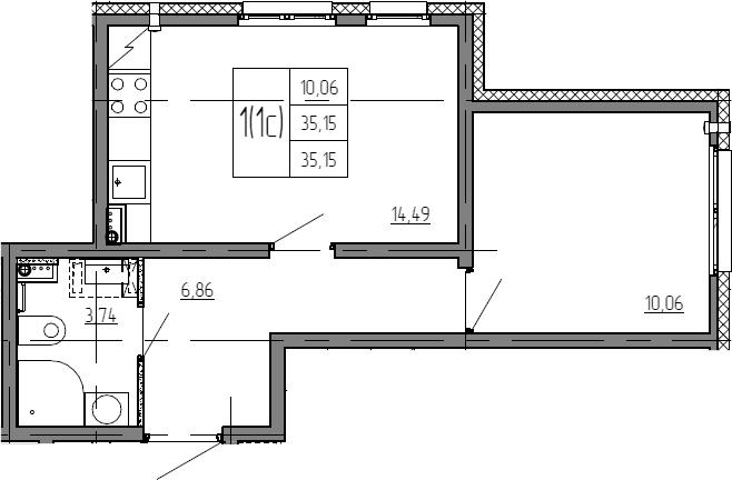 2Е-комнатная, 35.15 м²– 2