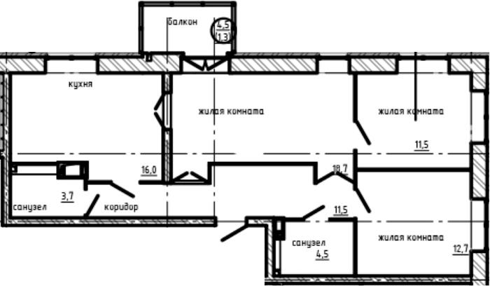 3-к.кв, 79.9 м², от 3 этажа