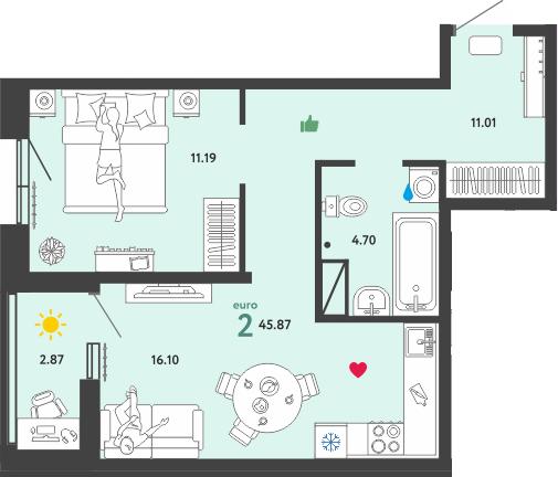 2Е-комнатная, 45.81 м²– 2