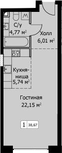 Студия, 38.67 м²– 2