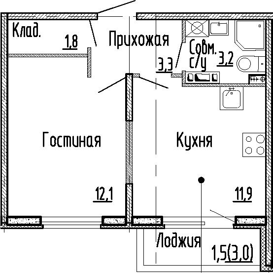 1-к.кв, 32.3 м², 4 этаж
