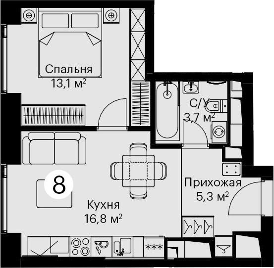 2-к.кв (евро), 38.9 м²