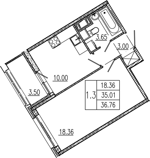 1-к.кв, 35.01 м²
