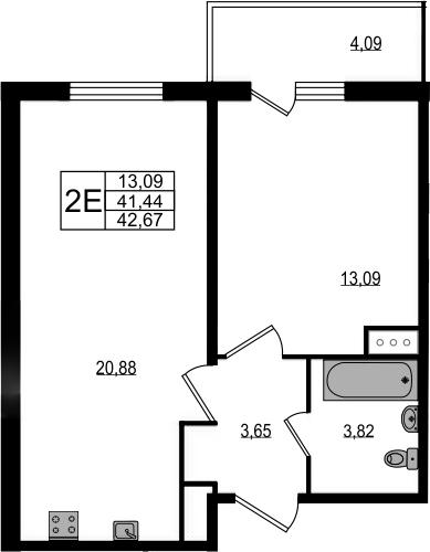 2Е-к.кв, 42.67 м²