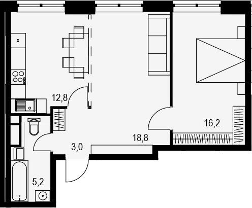 2-комнатная, 56 м²– 2