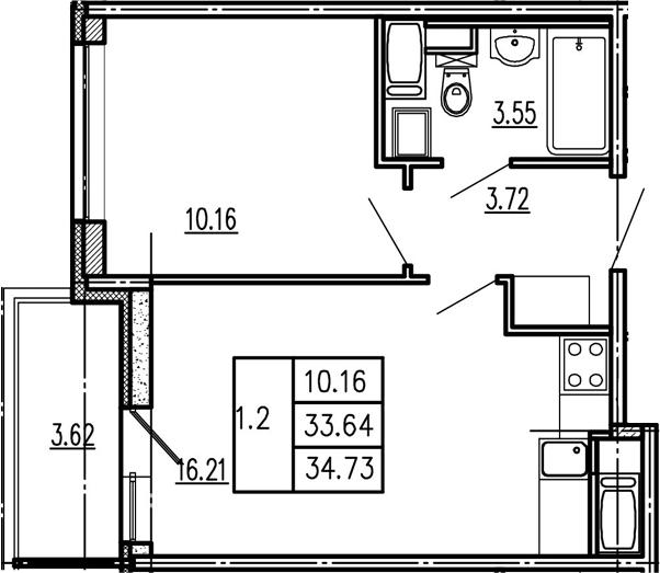 2Е-комнатная, 33.64 м²– 2