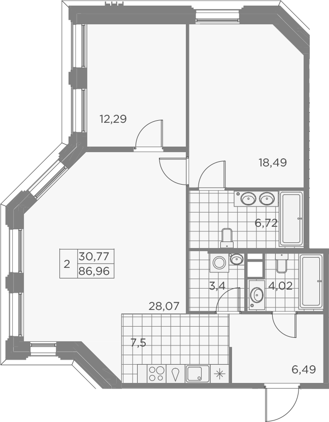 3Е-комнатная, 86.98 м²– 2