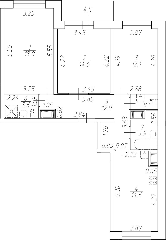 3-к.кв, 80.6 м²