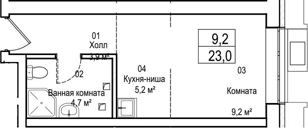 Студия, 23 м²